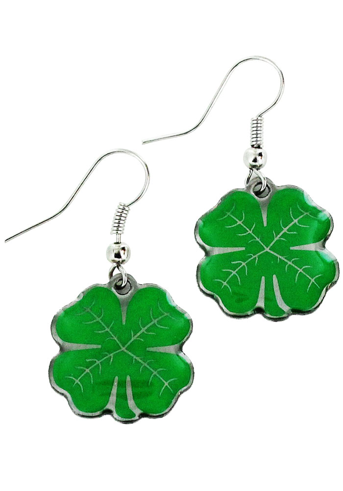 St Pattys Day 4 Leaf Clover Dangle Earrings - Image 1