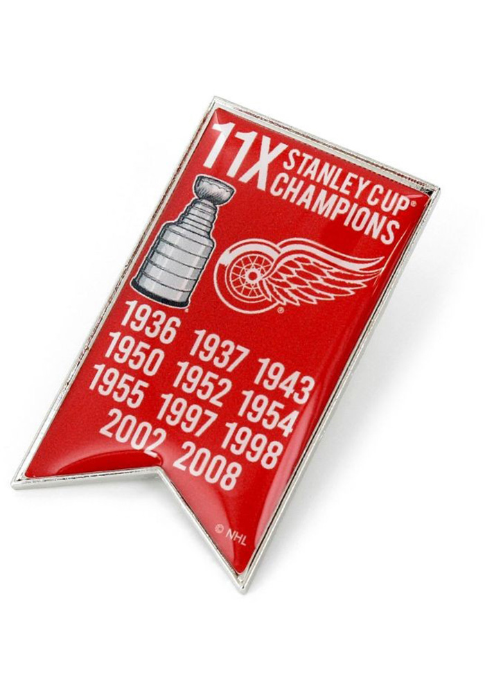 Detroit Red Wings Souvenir Stanley Cup Champions Banner Pin, Red