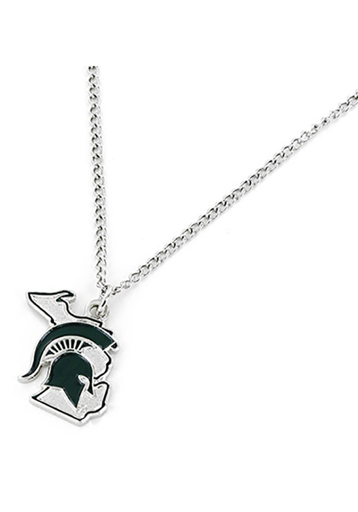 Michigan State Spartans Womens State Design Necklace - Green