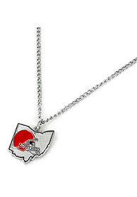 Cleveland Browns Womens State Design Necklace - Silver