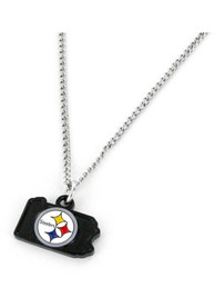 Pittsburgh Steelers Womens State Design Necklace - Black