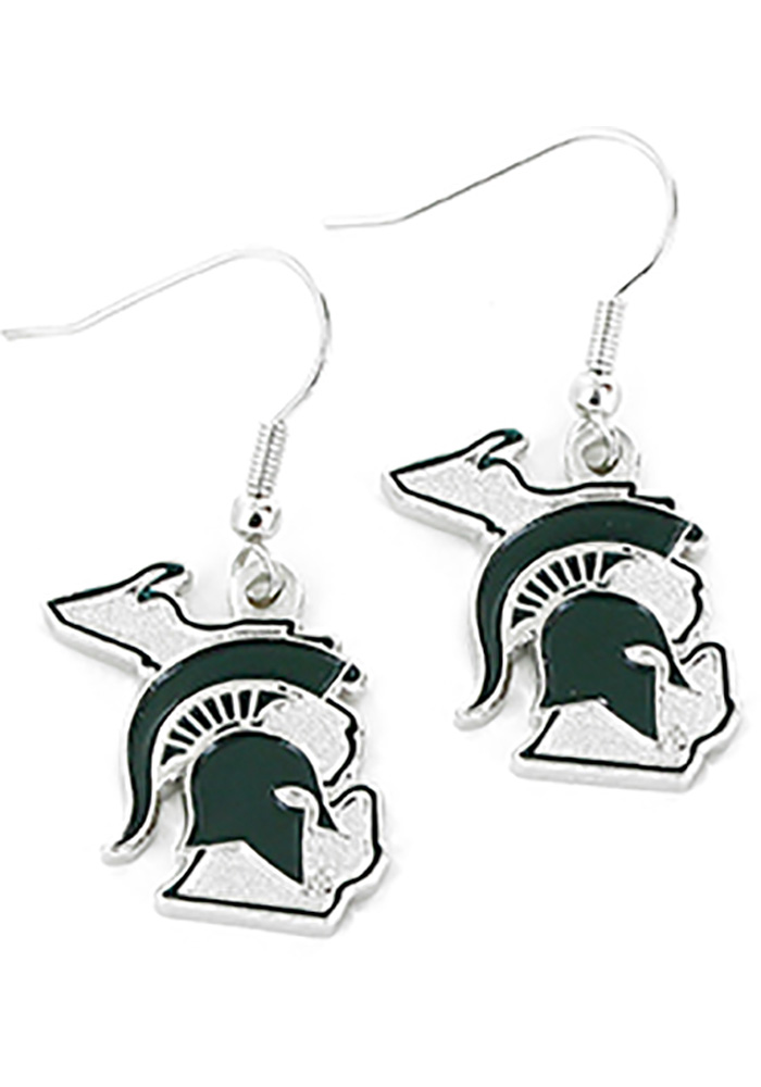 Michigan State Spartans Womens State Design Earrings - Green