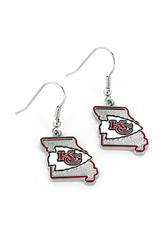 Kansas City Chiefs State Design Womens Earrings - Image 1
