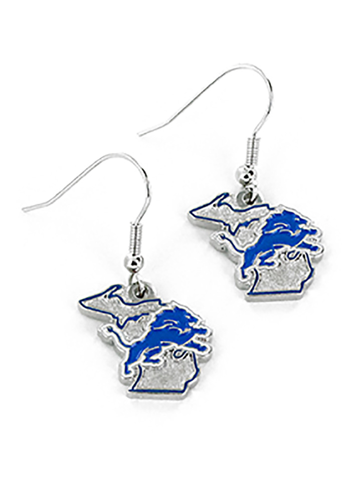 Detroit Lions State Design Womens Earrings - Image 1