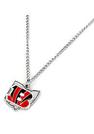 Cincinnati Bengals Womens State Design Necklace - Silver