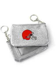 Cleveland Browns Womens Sparkle Coin Purse - Silver