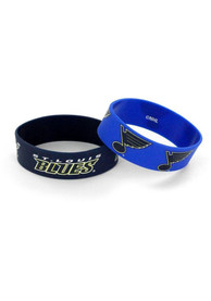 St Louis Blues Kids 2 Pack Silicone Bracelet - Navy Blue