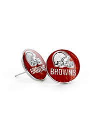 Cleveland Browns Womens Glitter Post Earrings - Brown
