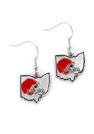 Cleveland Browns Womens State Shape Earrings - Brown