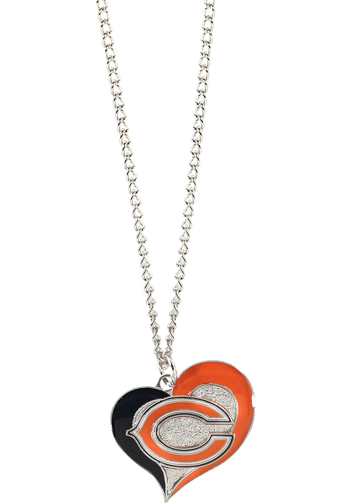 Chicago Bears Womens Swirl Heart Necklace - Navy Blue