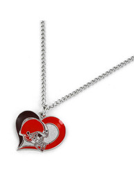 Cleveland Browns Womens Swirl Heart Necklace - Brown
