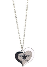 Dallas Cowboys Womens Swirl Heart Necklace - Navy Blue
