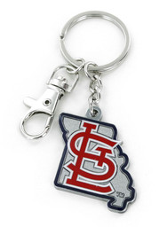 St Louis Cardinals State Shape Keychain