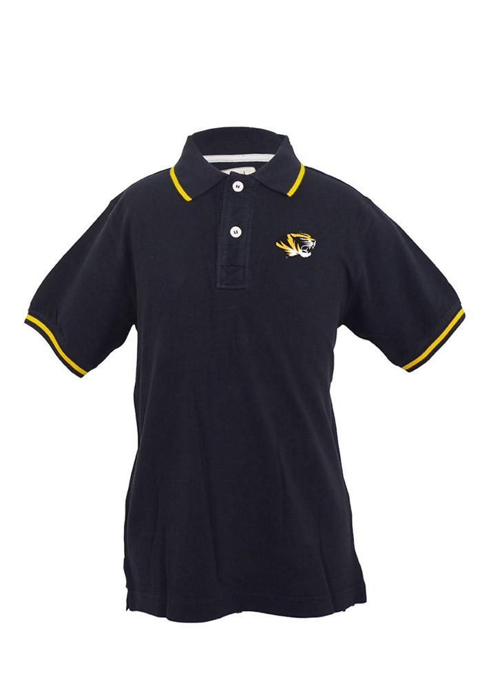 Missouri Tigers Baby Black Charlie Short Sleeve Polo Creeper - Image 1