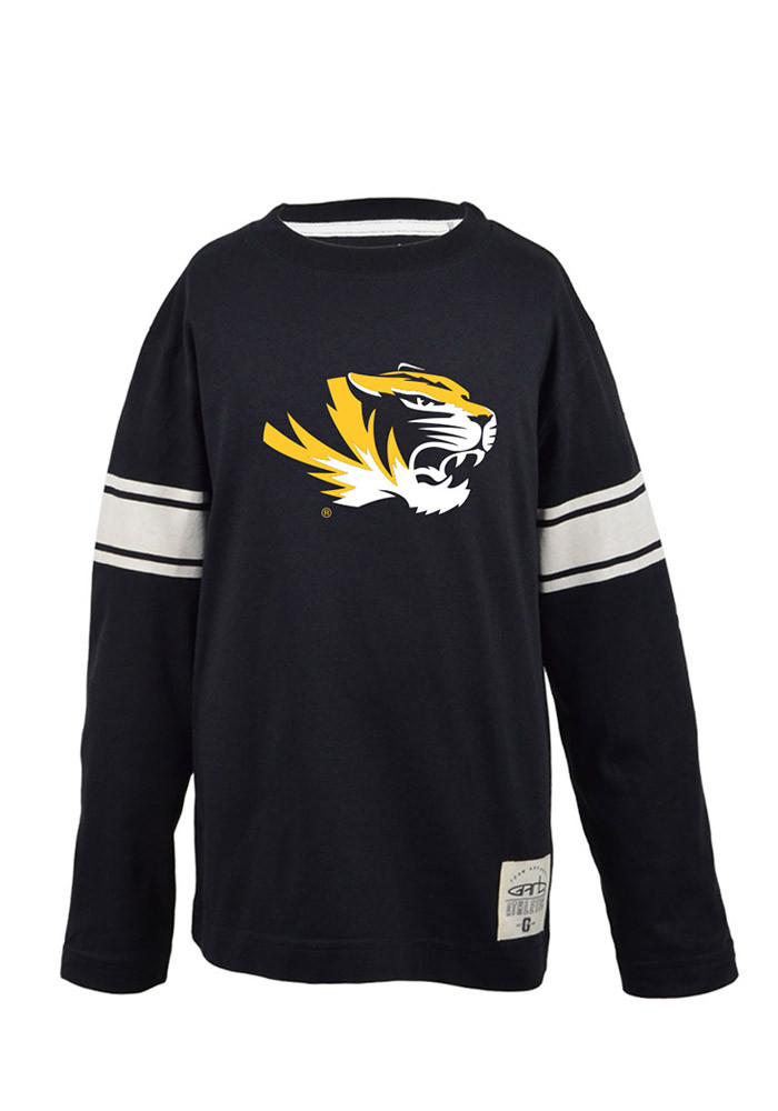 Missouri Tigers Youth Black Youth Brandon Long Sleeve Crew Sweatshirt - Image 1