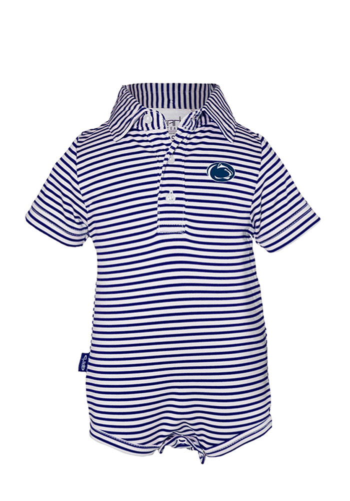 Penn State Nittany Lions Baby Navy Blue Carson Short Sleeve Polo One Piece - Image 1