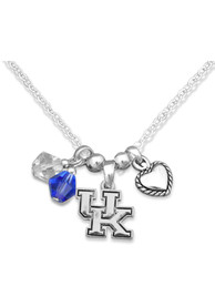 Kentucky Wildcats Womens 3 Charm Necklace - Silver