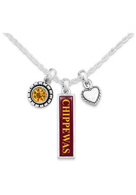 Central Michigan Chippewas Womens Triple Charm Necklace - Maroon