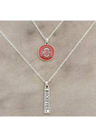 Ohio State Buckeyes Womens Double Down Necklace - Red