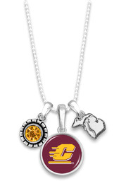 Central Michigan Chippewas Womens Home Sweet School Necklace - Maroon