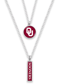 Oklahoma Sooners Womens Double Layer Necklace - Red