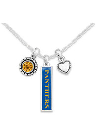 Pitt Panthers Womens Triple Charm Necklace - Blue