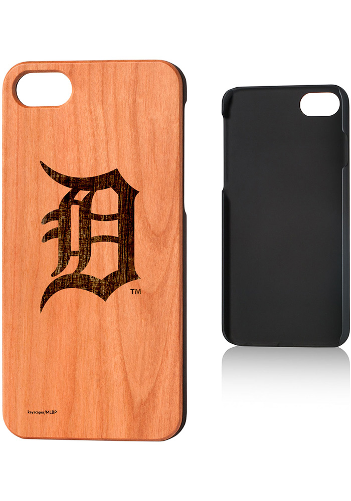 Detroit Tigers iPhone 7/8 Woodburned Cherry Wood Phone Cover - Image 1