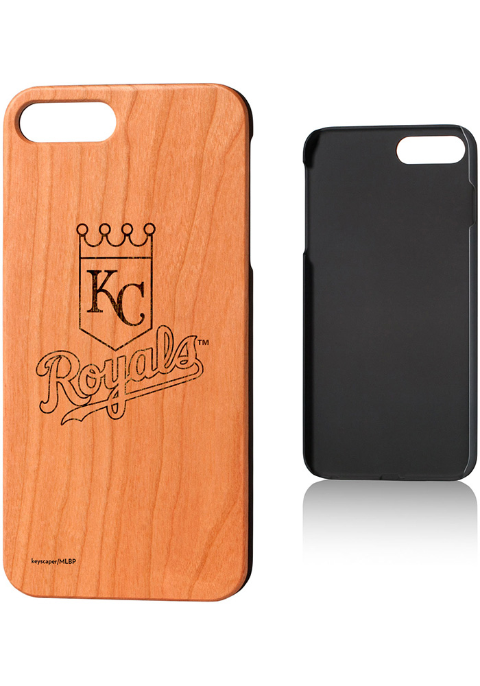 Kansas City Royals iPhone 7+/8+ Woodburned Cherry Wood Phone Cover - Image 1