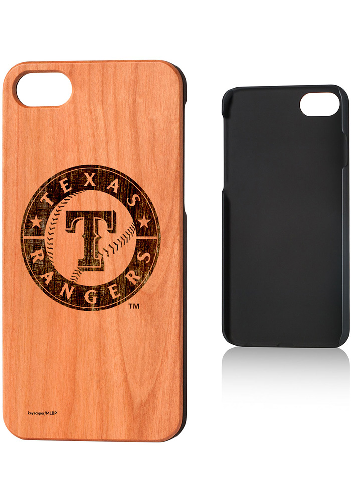 Texas Rangers iPhone 7/8 Woodburned Cherry Wood Phone Cover - Image 1