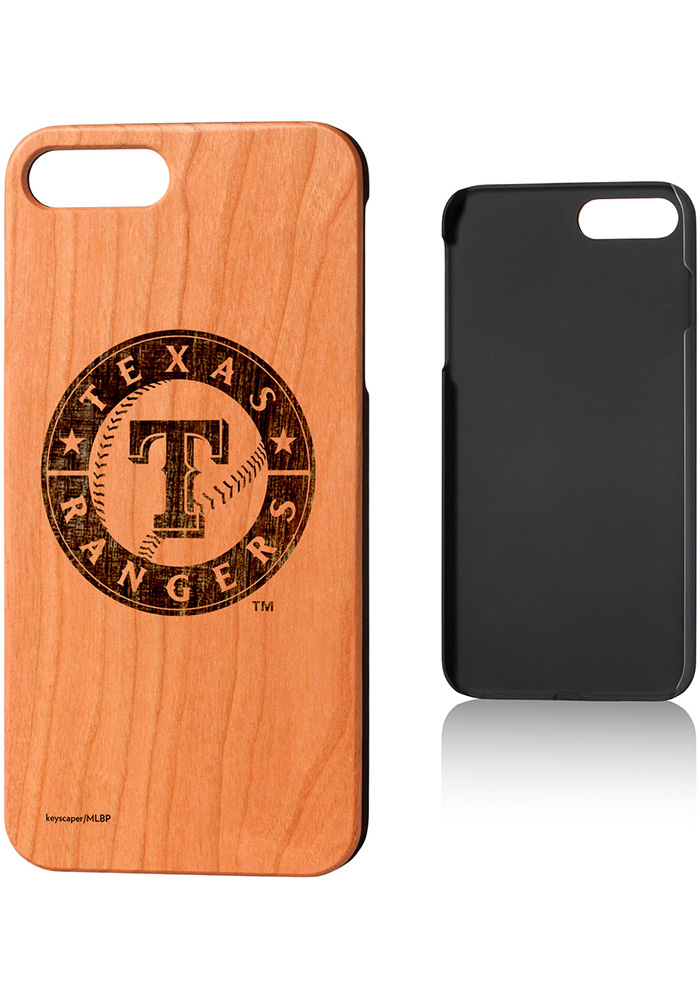 Texas Rangers iPhone 7+/8+ Woodburned Cherry Wood Phone Cover - Image 1
