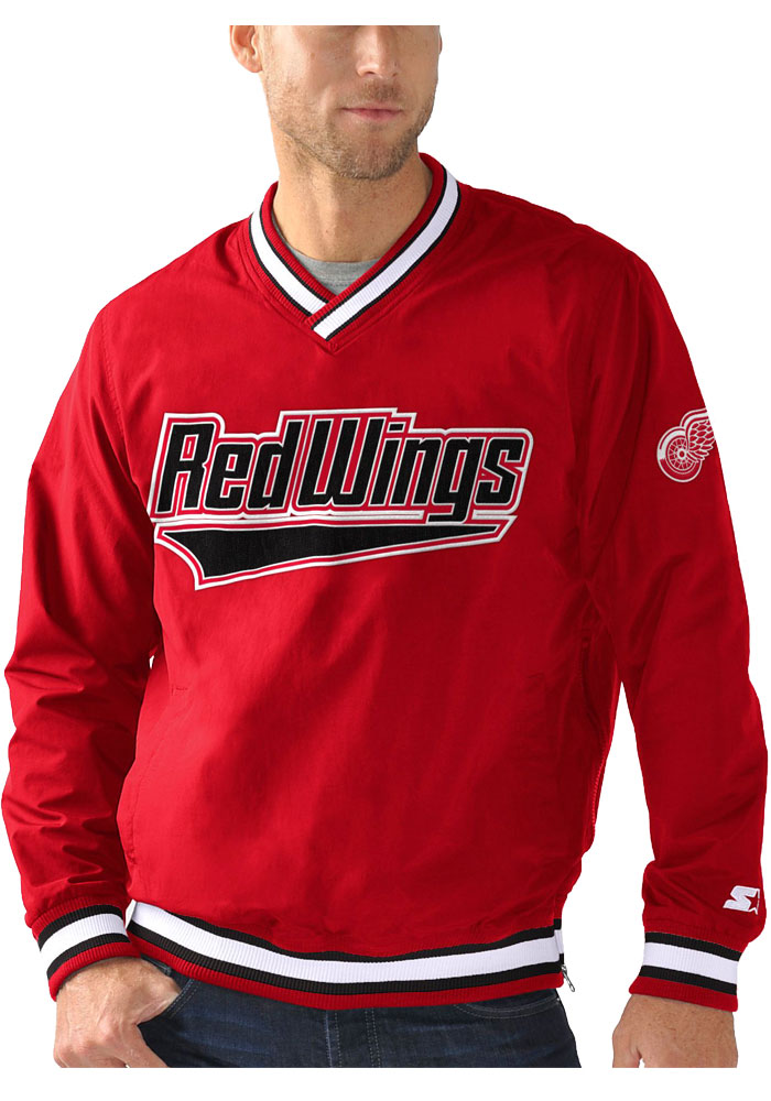 Detroit Red Wings Mens Red STARTER Gameday Pullover Jackets - Image 1
