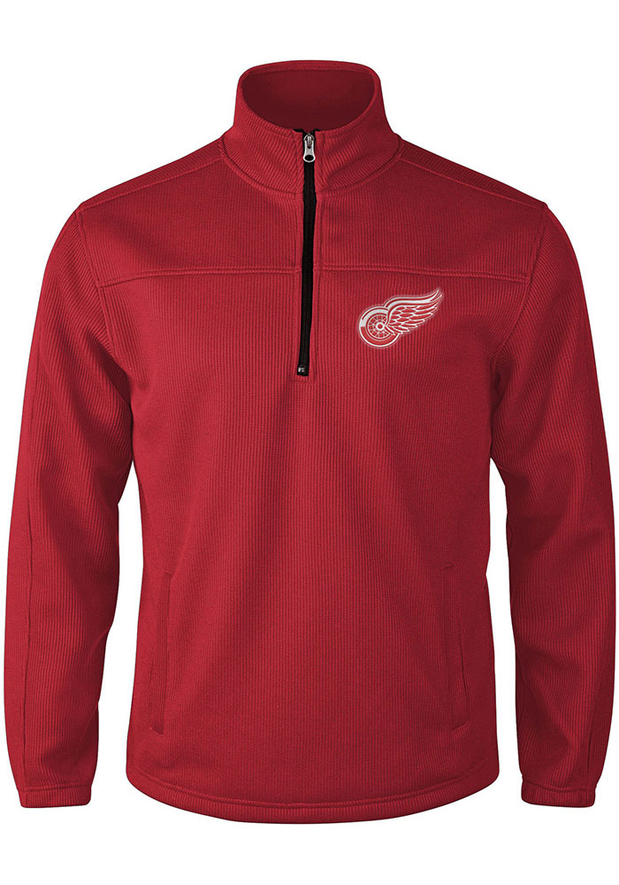 Detroit Red Wings Mens Red Intermission Long Sleeve 1/4 Zip Pullover - Image 1