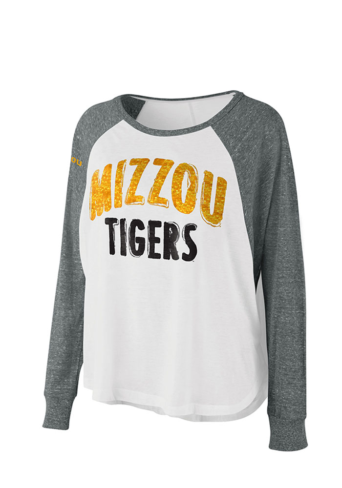 Missouri Tigers Womens White Triple A Long Sleeve Crew T-Shirt - Image 1