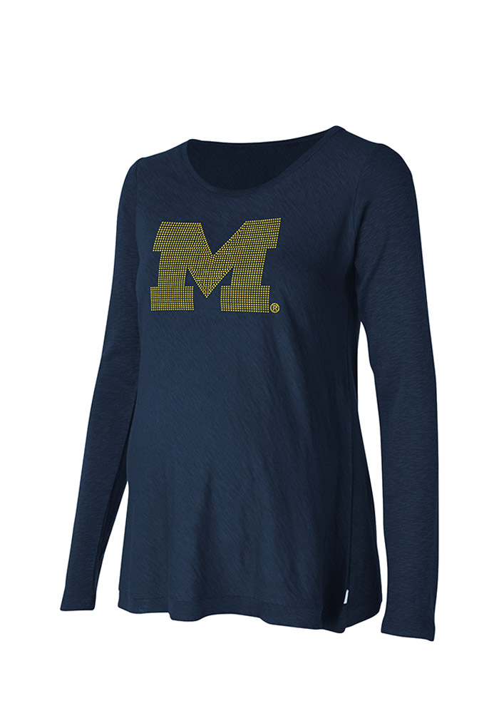 Michigan Wolverines Womens Navy Blue Bright Lights Long Sleeve Maternity Long Sleeve - Image 1