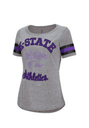 K-State Wildcats Womens Double Play Gray Scoop T-Shirt
