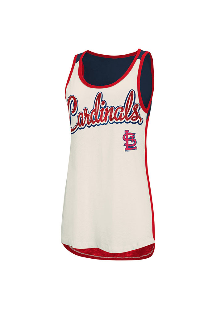 St Louis Cardinals Womens White Triple Play Tank Top - Image 1