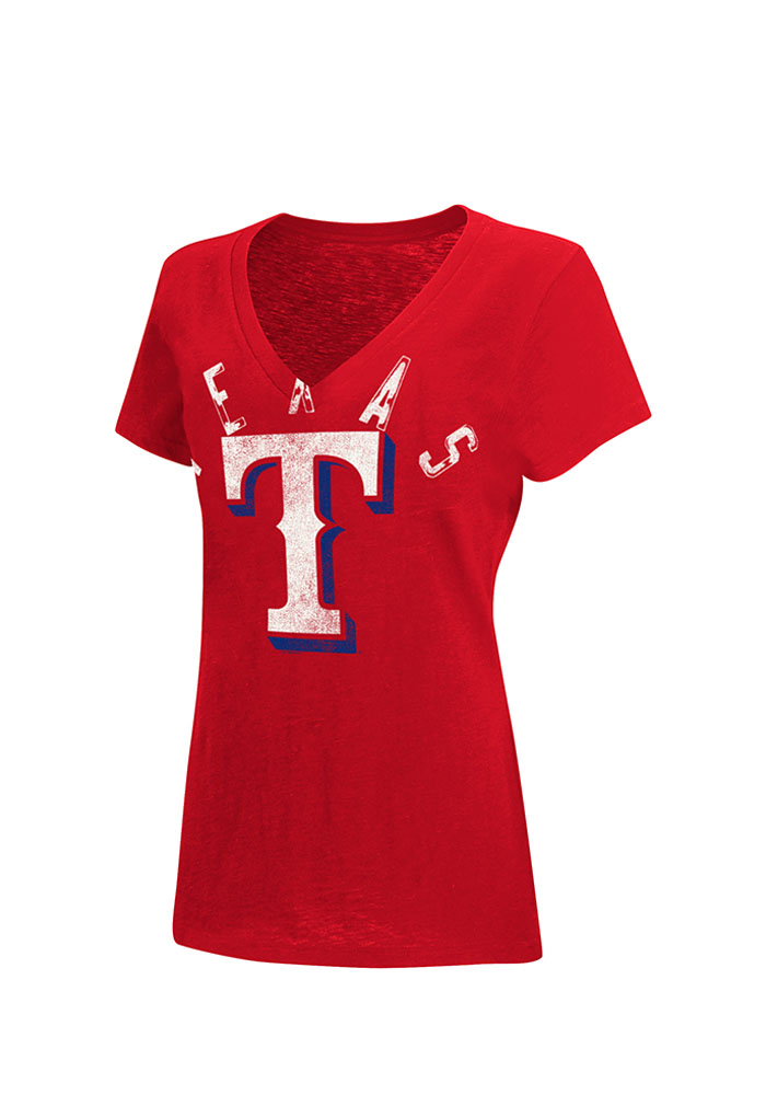 Texas Rangers Womens Red Rounding the Bases V-Neck 9430678