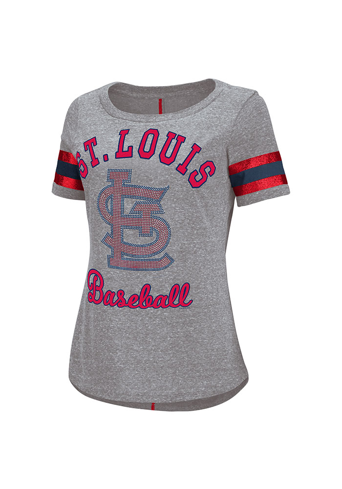 St Louis Cardinals Womens Grey Double Play Short Sleeve Scoop - Image 1