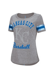 KC Royals Womens Double Play Gray Scoop T-Shirt