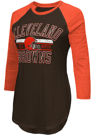 Cleveland Browns Womens Brown Hang Time Women's Crew