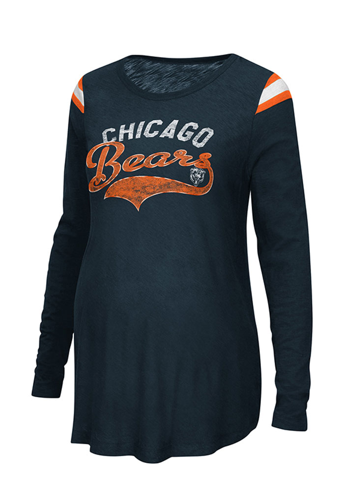Chicago Bears Womens Navy Blue Championship Maternity Long Sleeve
