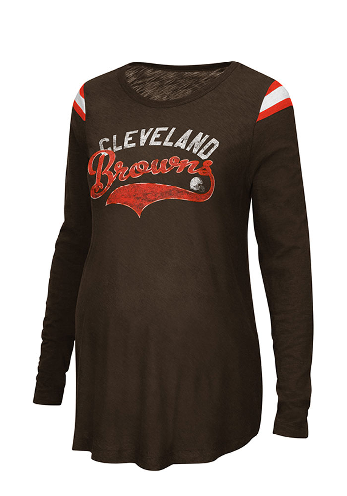 Cleveland Browns Womens Orange Championship Long Sleeve Maternity Long Sleeve - Image 1