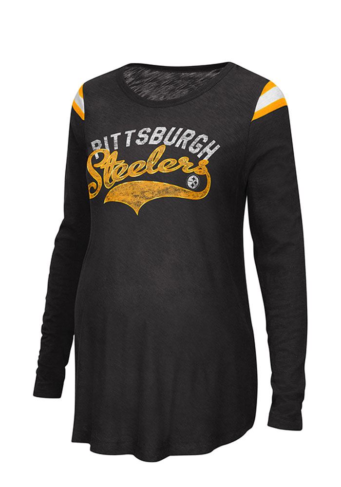 Pittsburgh Steelers Womens Black Championship Long Sleeve Maternity Long Sleeve - Image 1