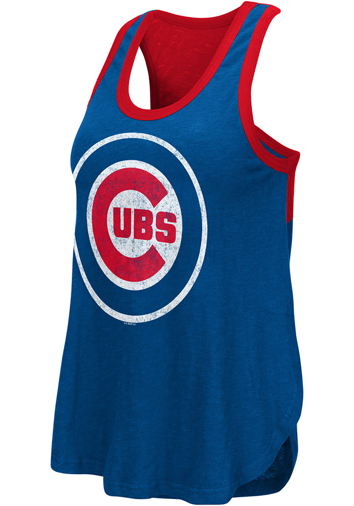 Chicago Cubs Womens Blue Power Play Tank Top - Image 1
