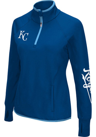 KC Royals Womens In The Stands Blue 1/4 Zip Performance Pullover