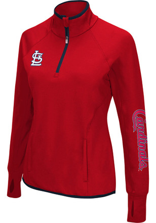 STL Cardinals Womens In The Stands Red 1/4 Zip Performance Pullover