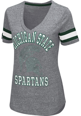 Michigan State Spartans Womens Grey Triple Play T-Shirt
