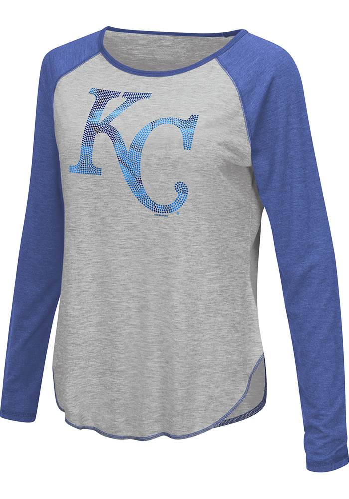 Kansas City Royals Womens Grey Line Drive Long Sleeve Women's Scoop - Image 1