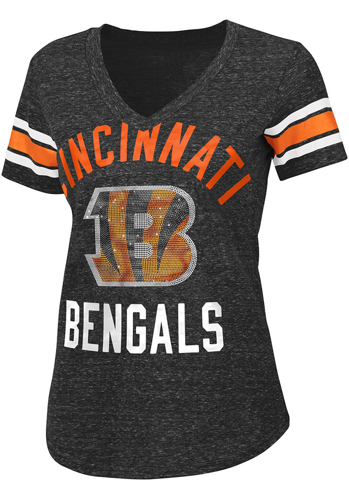 Cincinnati Bengals Womens Black The Big Game V-Neck, Black, 50% COTTON / 38% POLYESTER / 12% RAYON, Size M