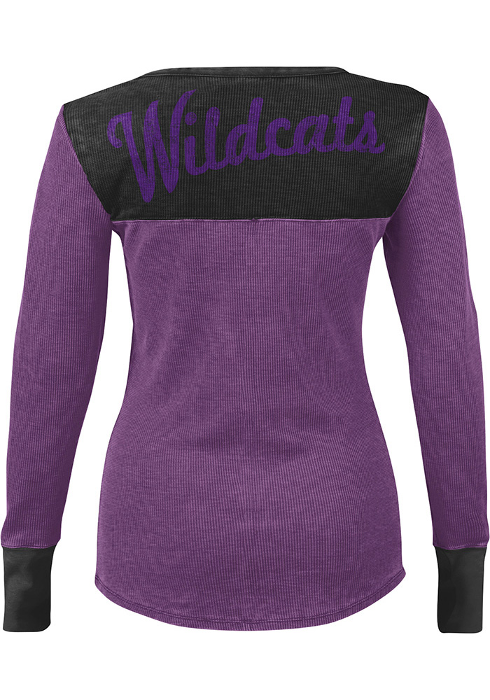 K-State Wildcats Womens Purple Blindside Thermal Long Sleeve Plus Size T-Shirt - Image 2